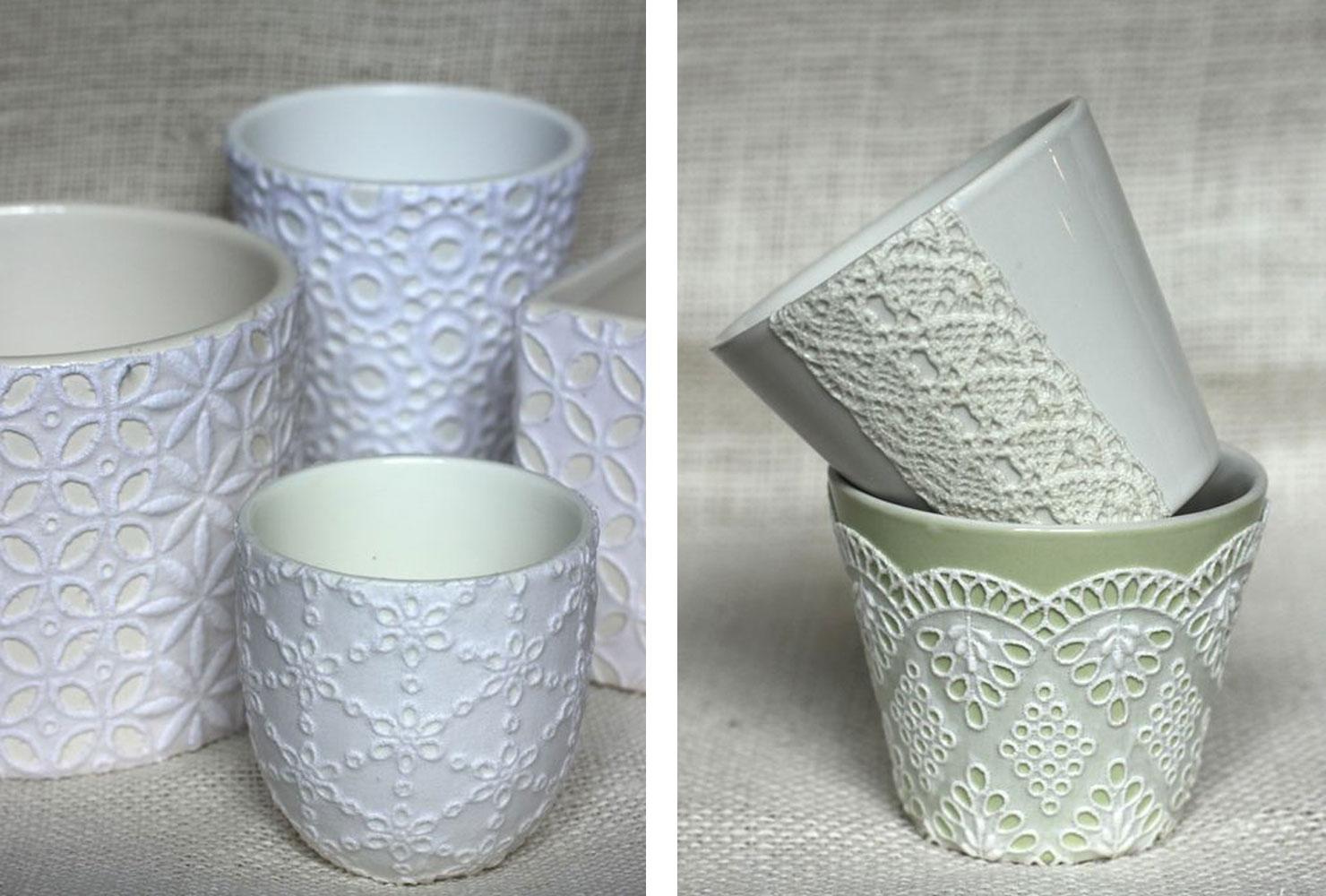bowls that have lace attached to them