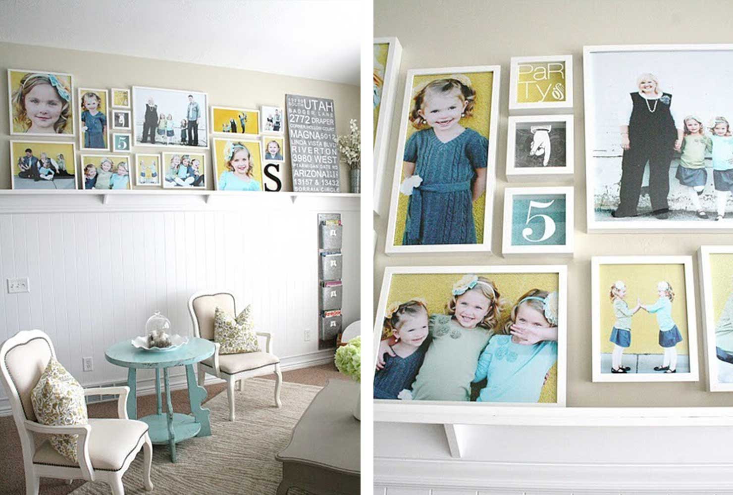 wall is filled with family photos