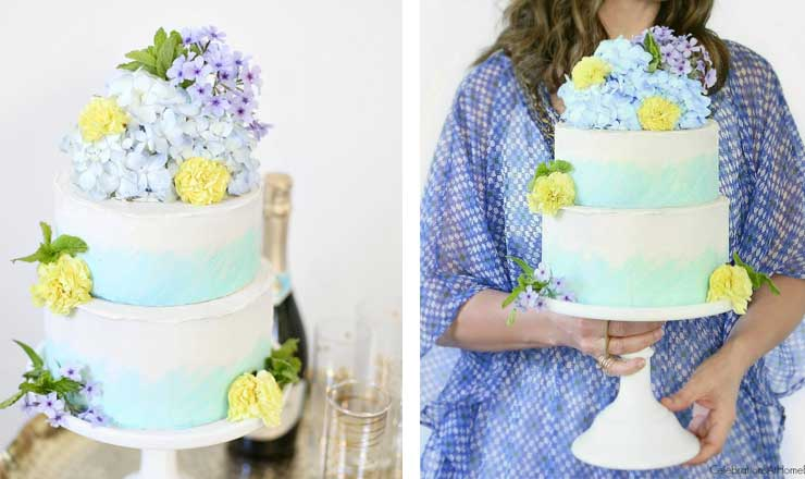 ombre and hydrangeas bridal shower cake