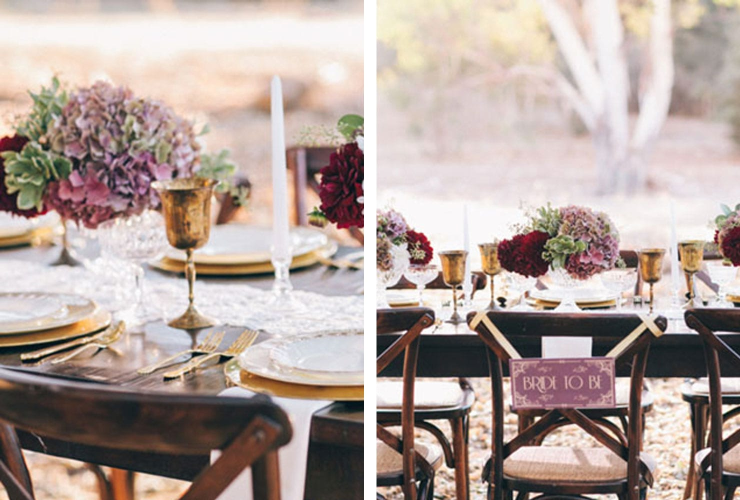 Dark wood table with gold and mauve floral accents
