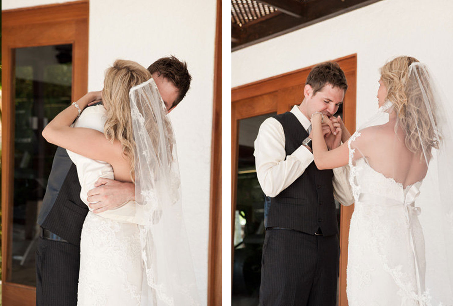 Bride and groom hugging with groom kissing bride's hands