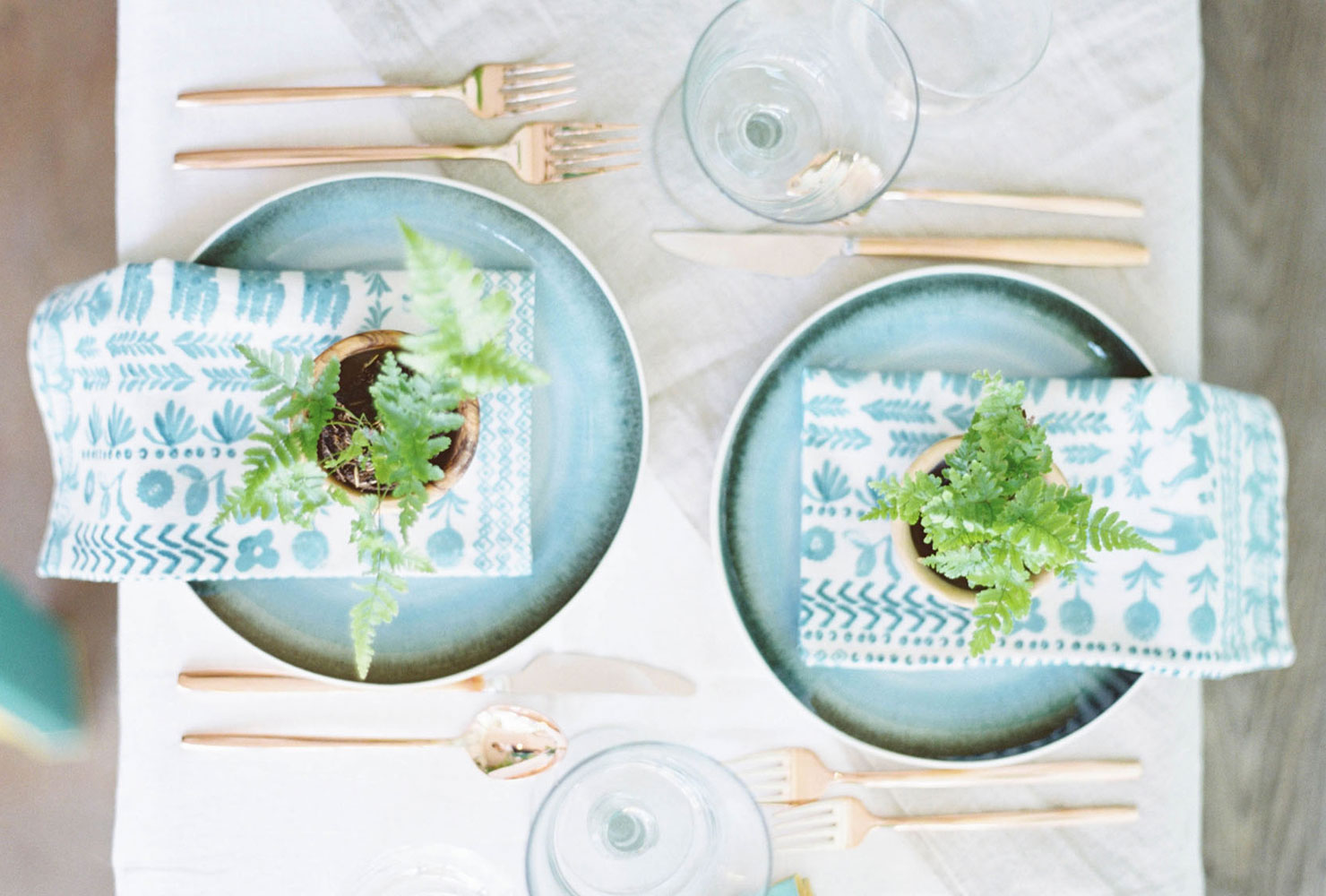 Blue plates with gold flatware and small green plants