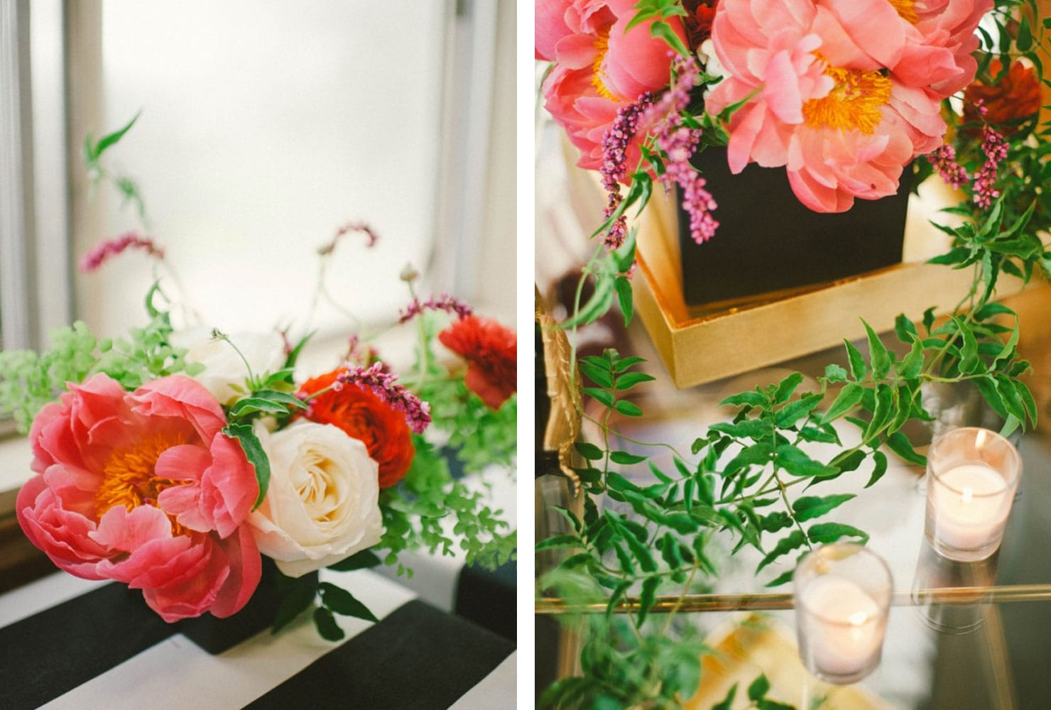 Bright florals with black and gold accents and white candles