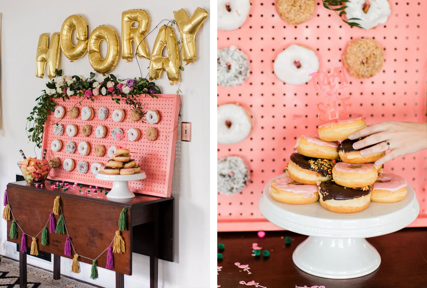 Pink peg wall with donuts, fresh fruit and gold letter balloons