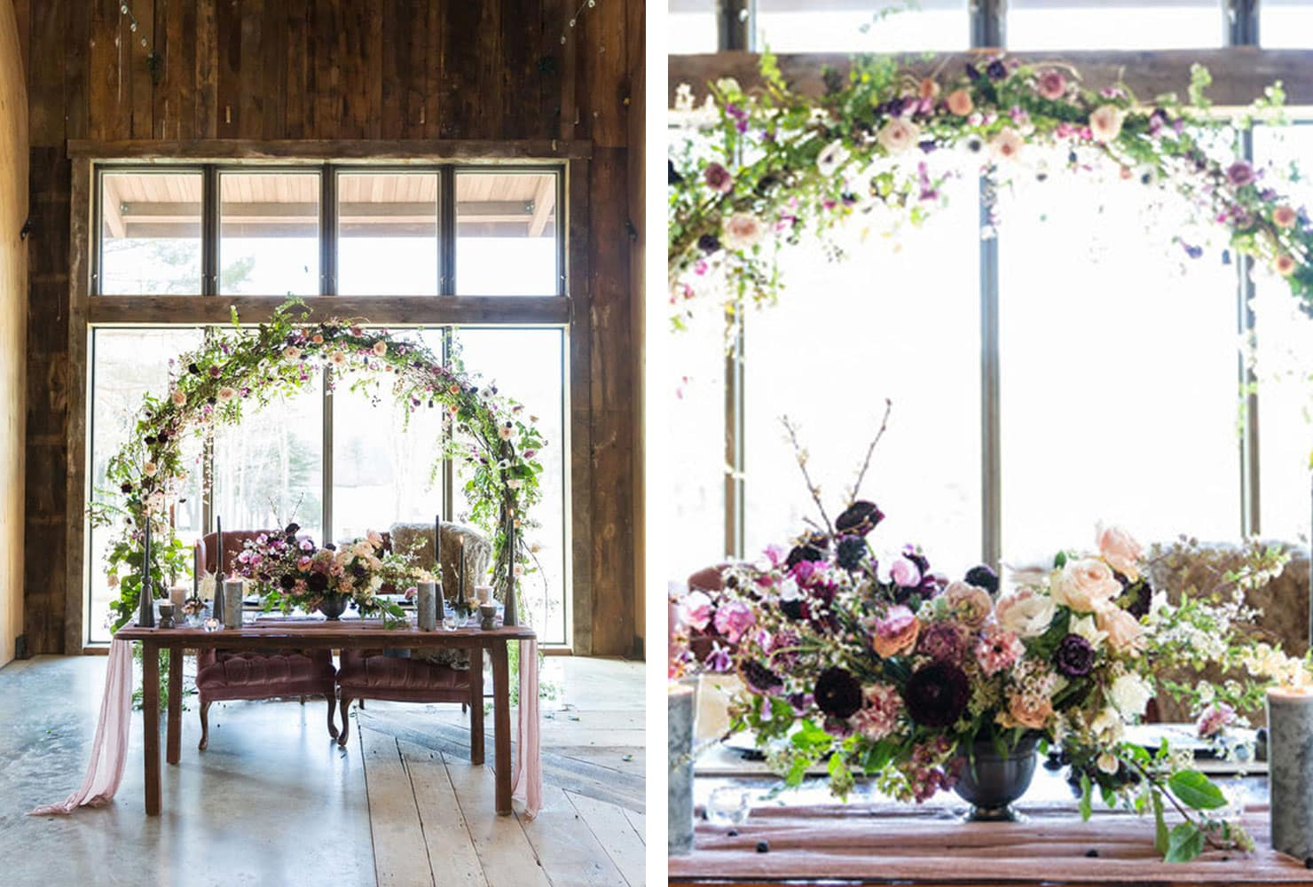 Wood table with mauve colored chairs and elegant floral arc