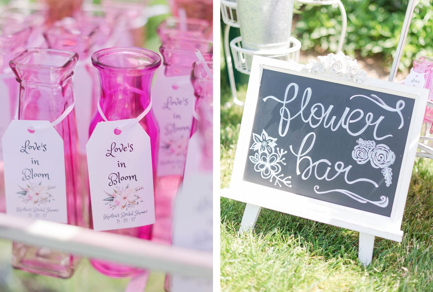 Pink vases with flower bar for party favors