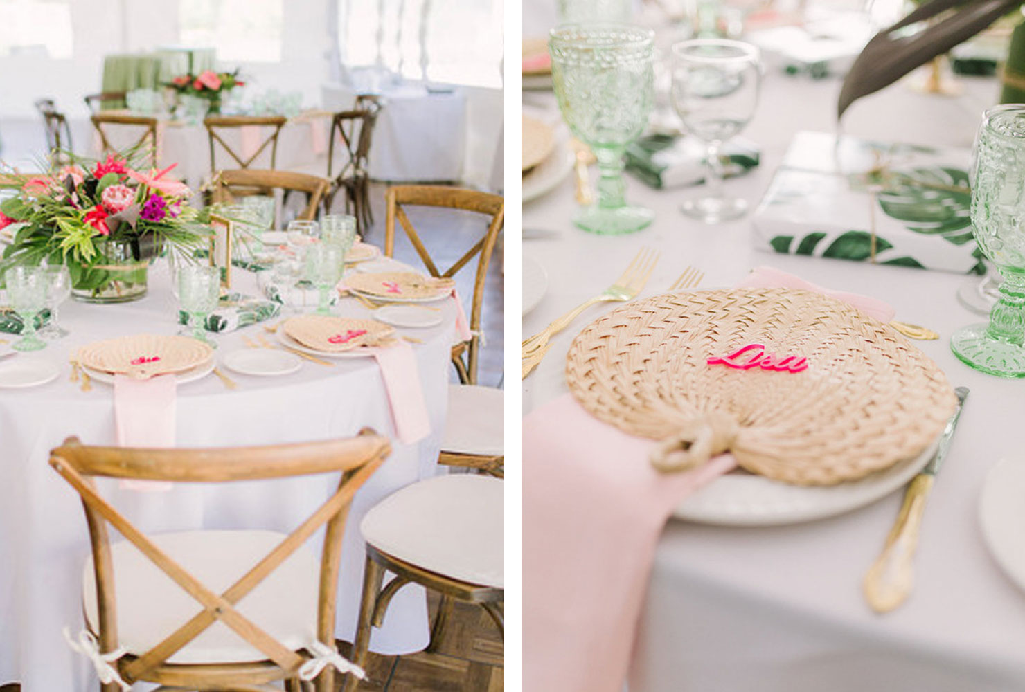 White table with bright florals and wicker fans