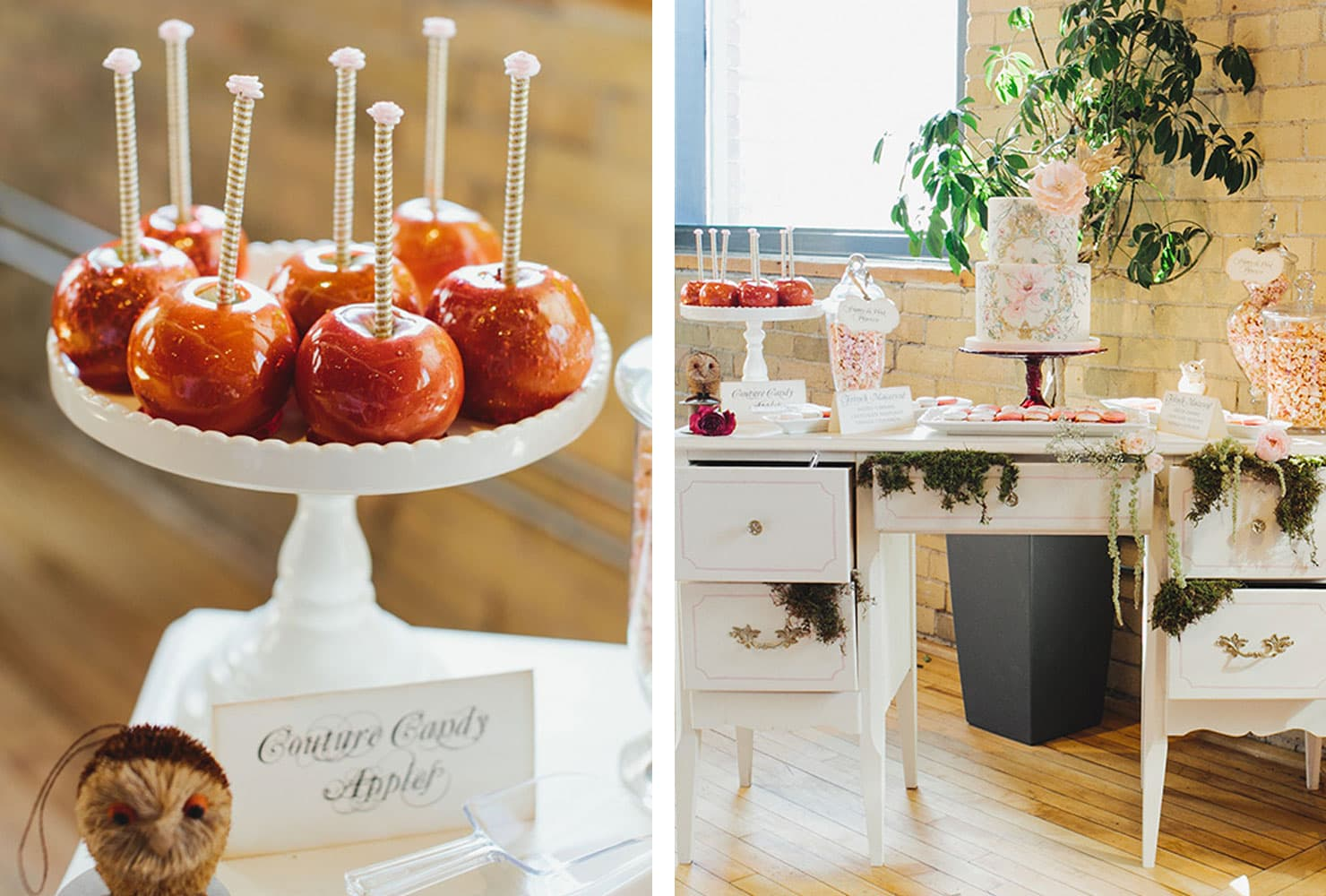 Garden party table with couture caramel apples