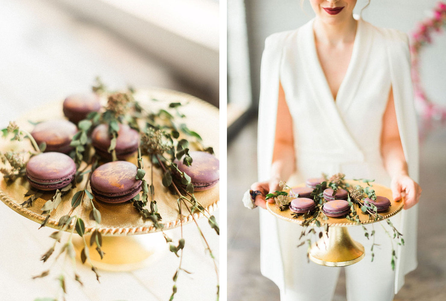 Purple macaroons on a gold platter with greenery