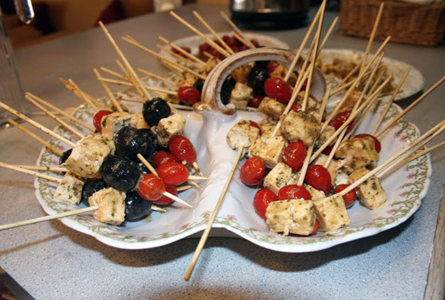 Feta, olive and tomato skewers