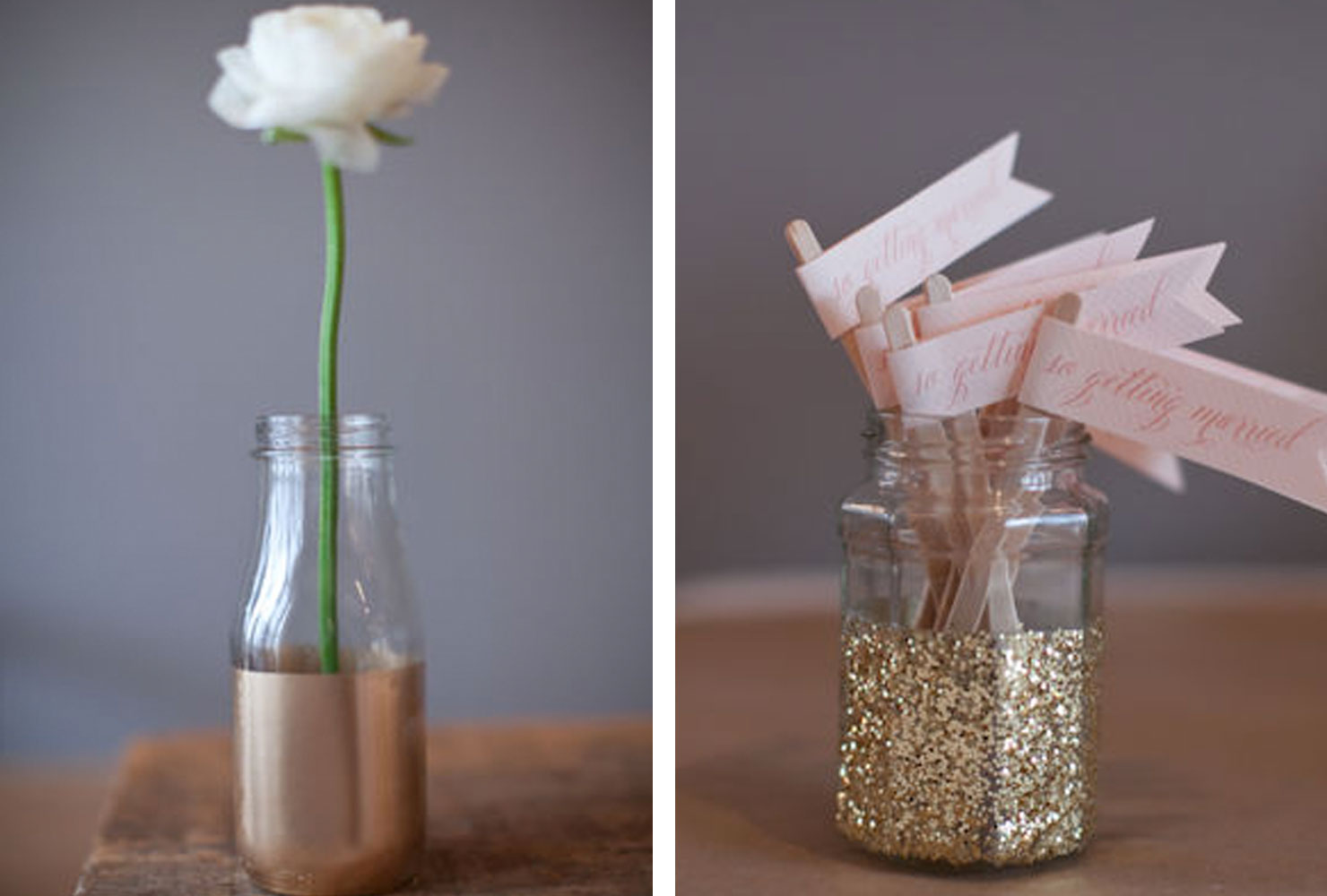 Gold dipped flower vases and jars