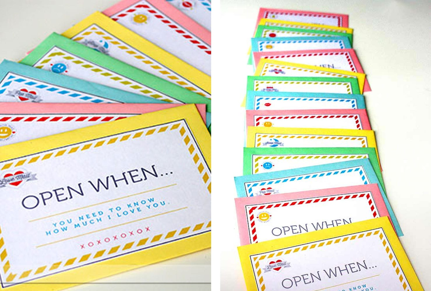 Colorful envelopes with 'open when' messages