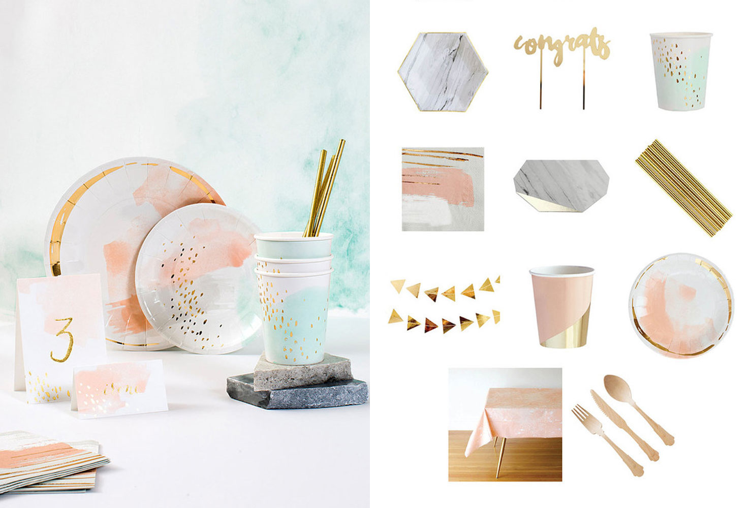 Pink and blue pastel plates with gold accents