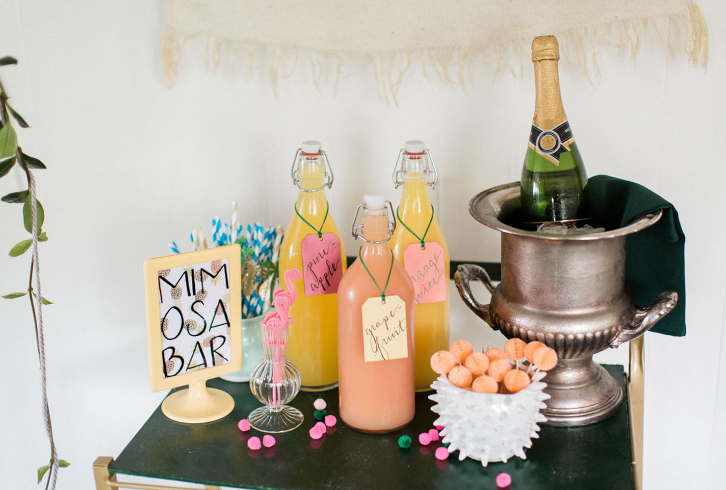 Tropical mimosa bar with hanging greenery