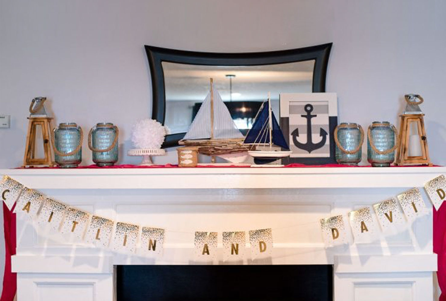 Mantel decorated with nautical accents and couple's names
