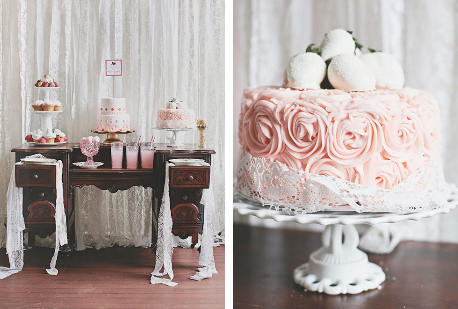Dark wood table with pink and white desserts and drinks