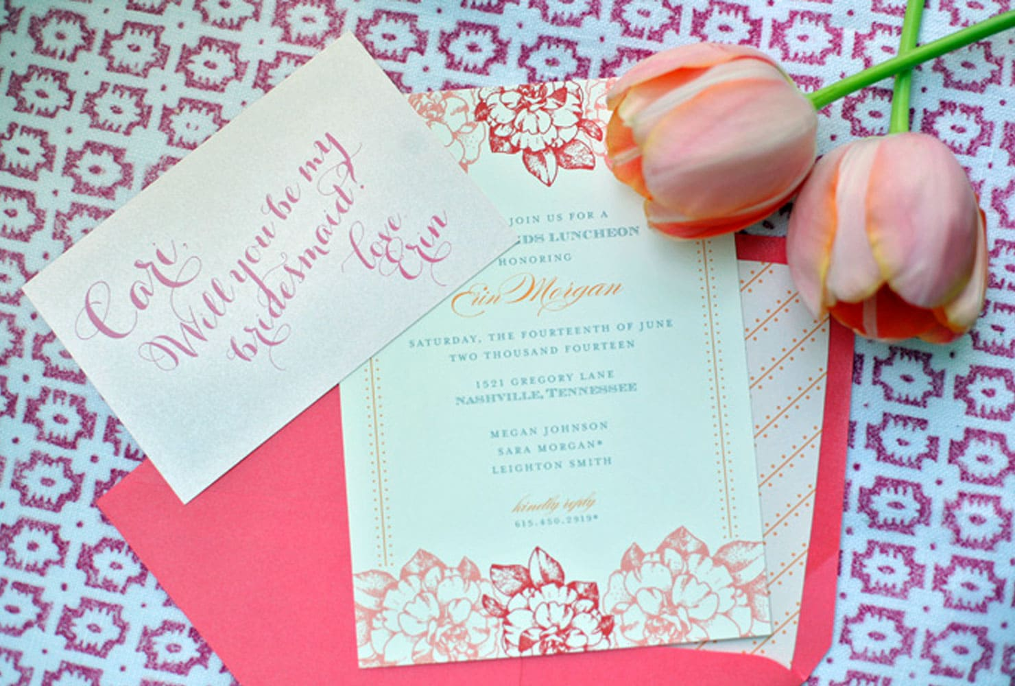 Pink and white invitation with pink tulips
