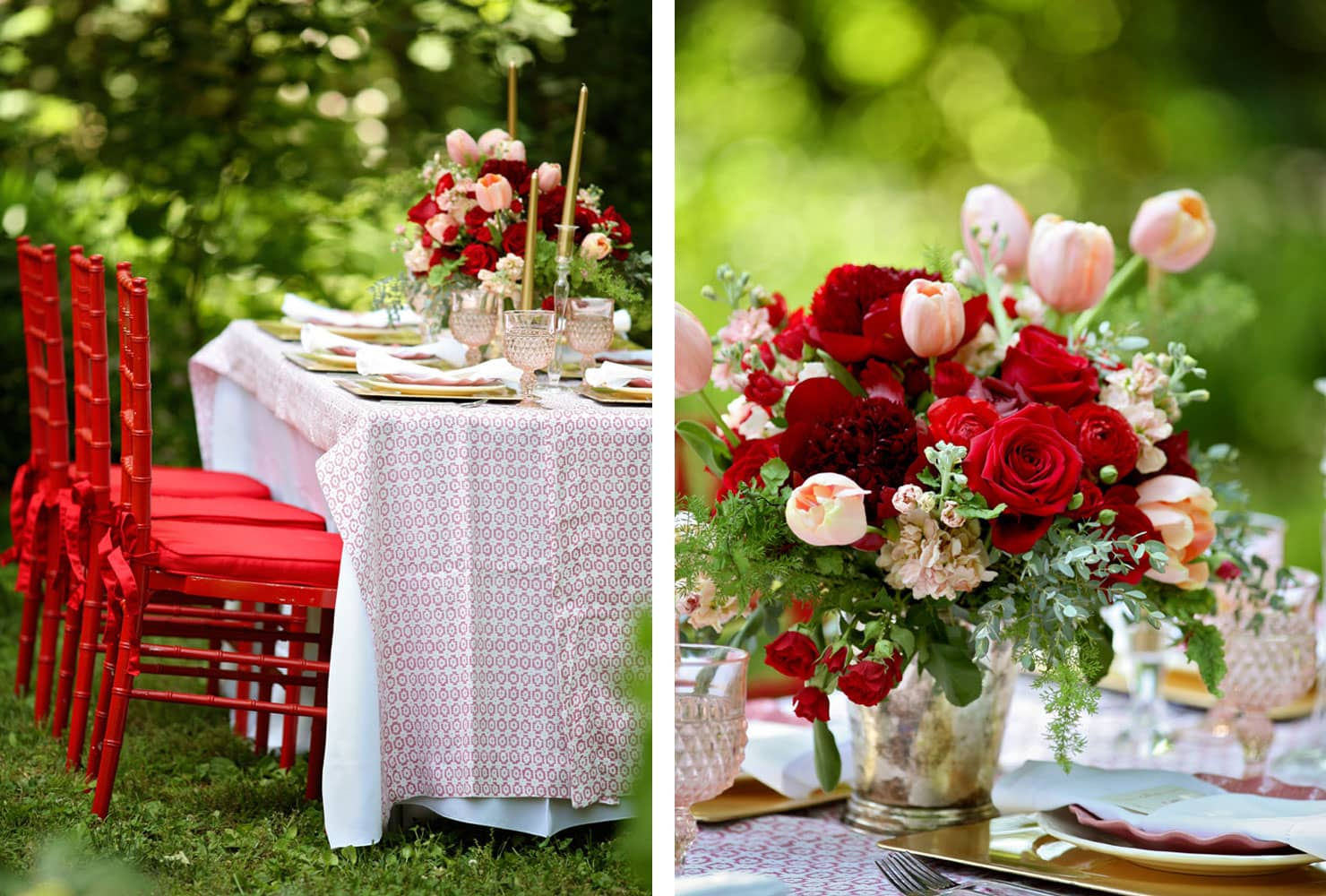 Red chairs with red flower centerpiece and gold accents