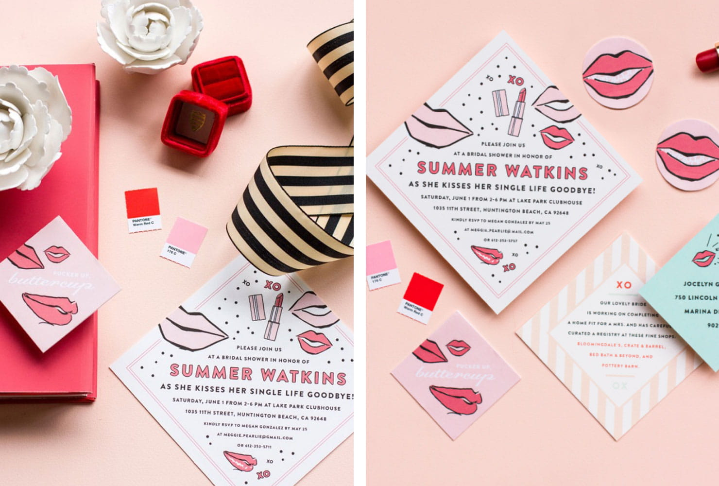 White and pink retro invitations with lip accents