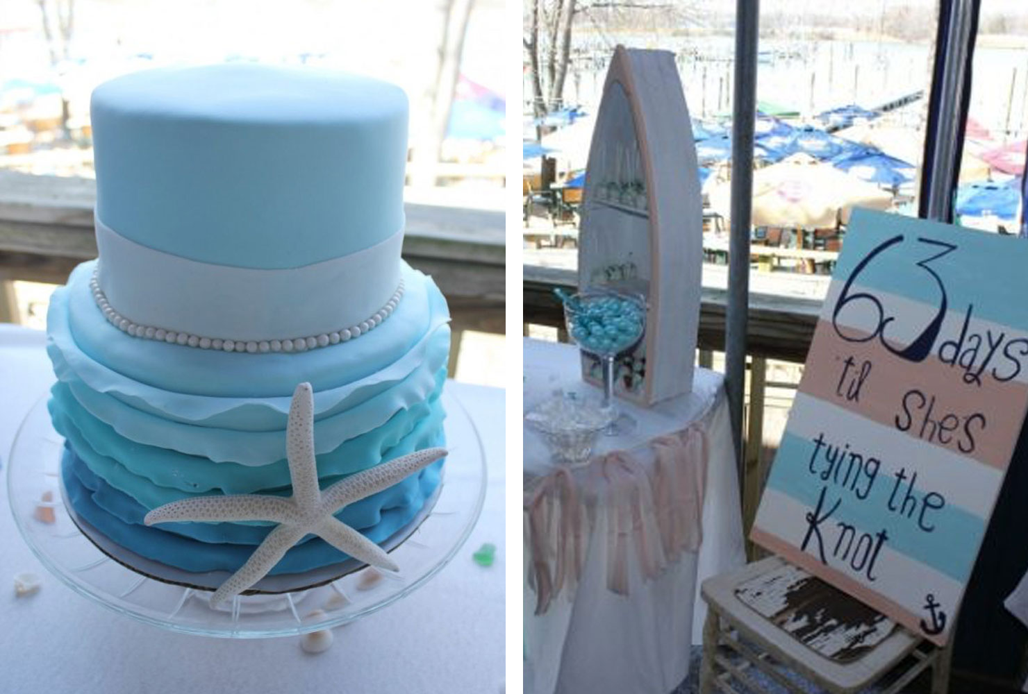 Blue tiered cake with starfish decoration