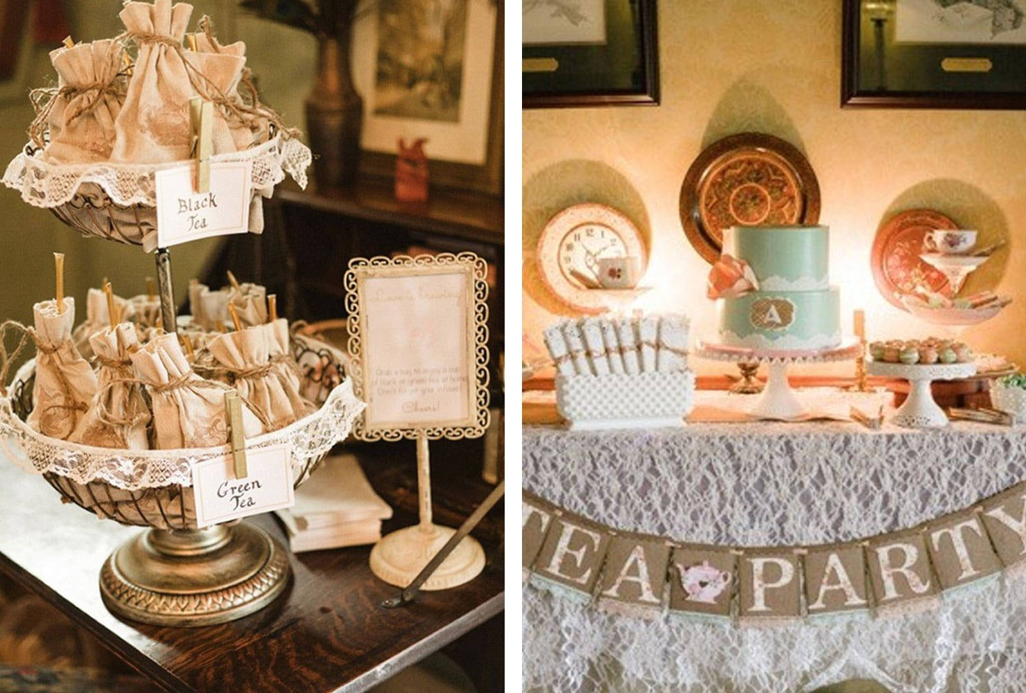 Tea party table with burlap and white lace accents