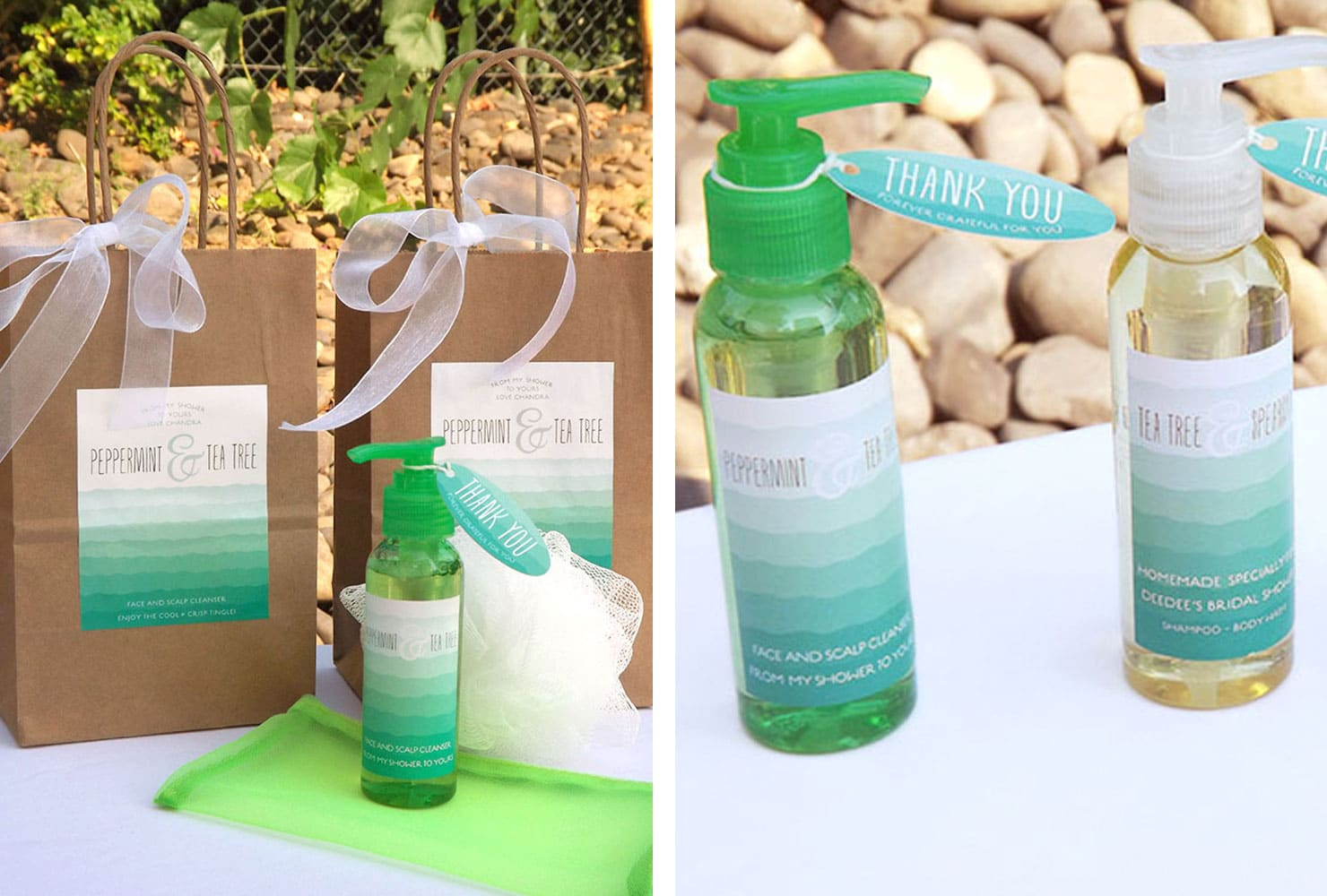 Peppermint and tea tree cleanser gift bags with white loofa