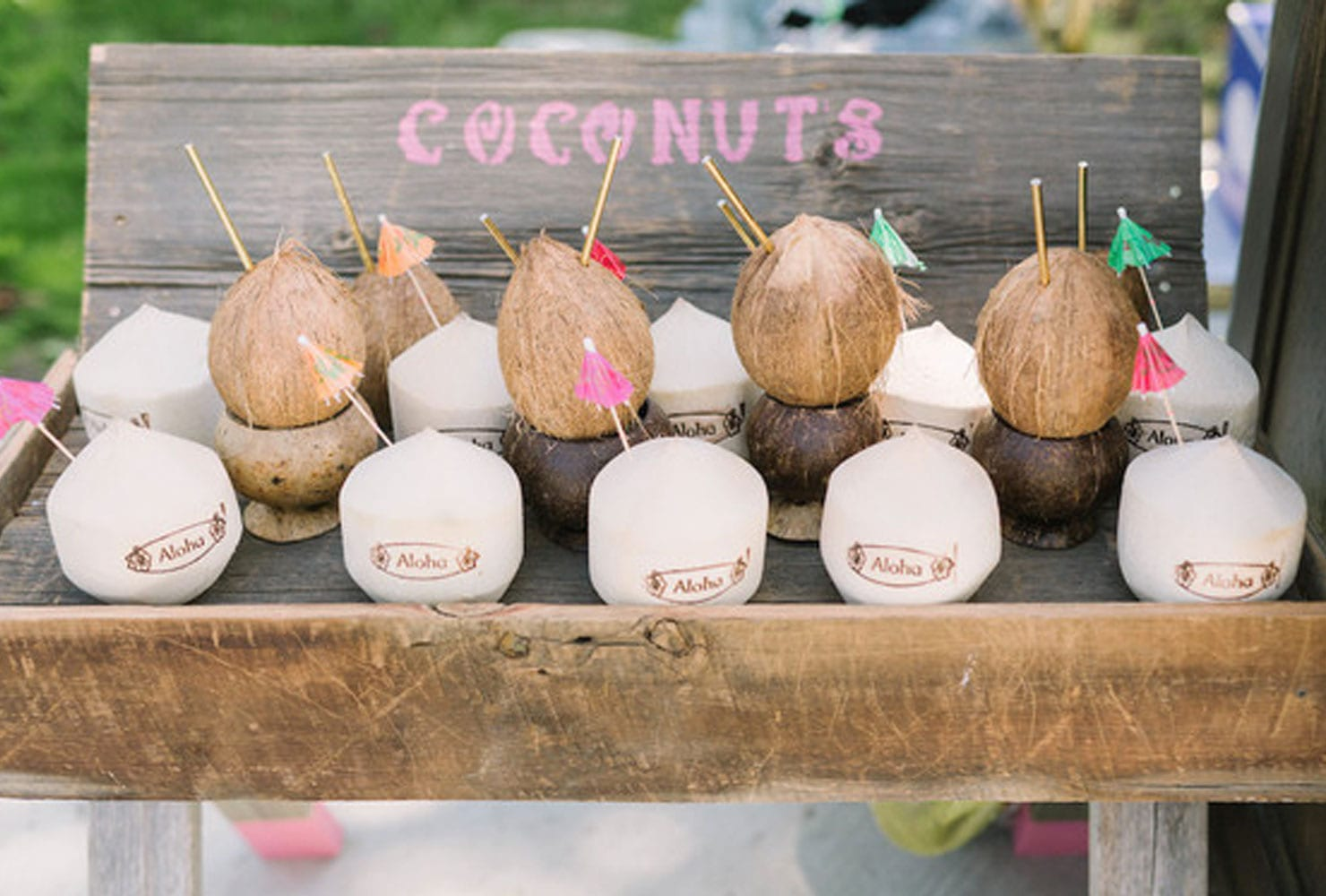 Coconut drinks on a wooden table