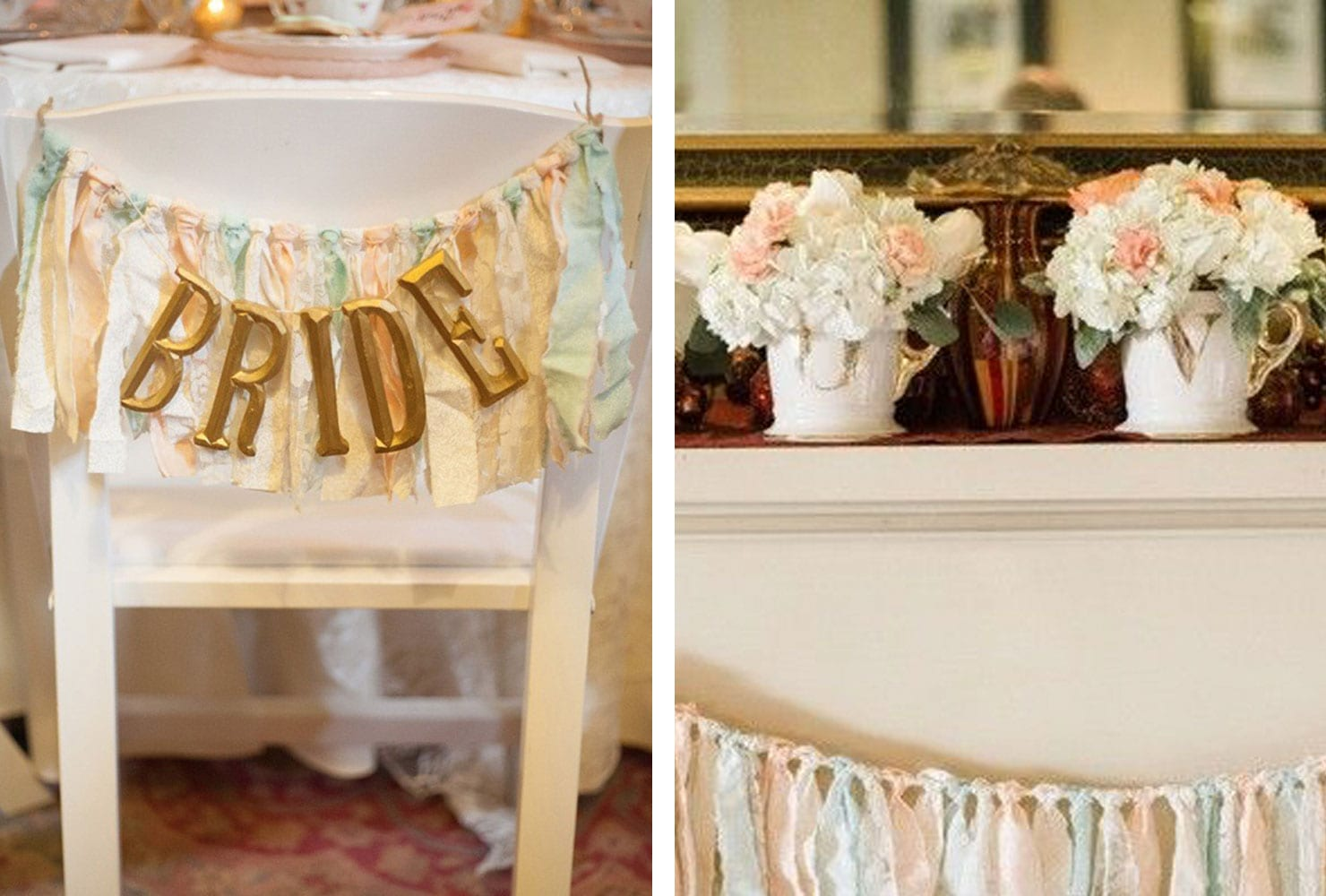 White chair with pastel tassels and 'bride' letters in gold