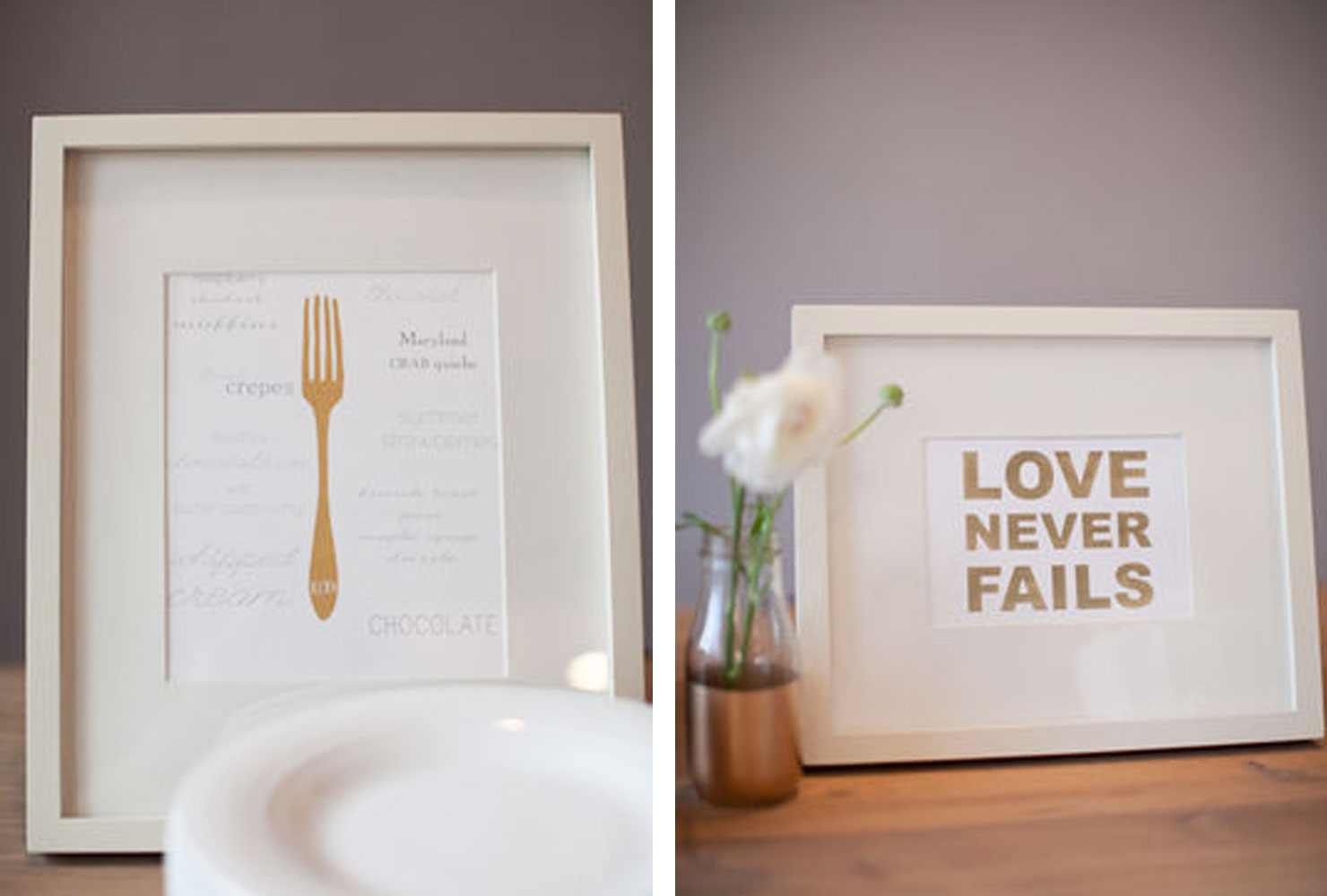 White frames with gold signage