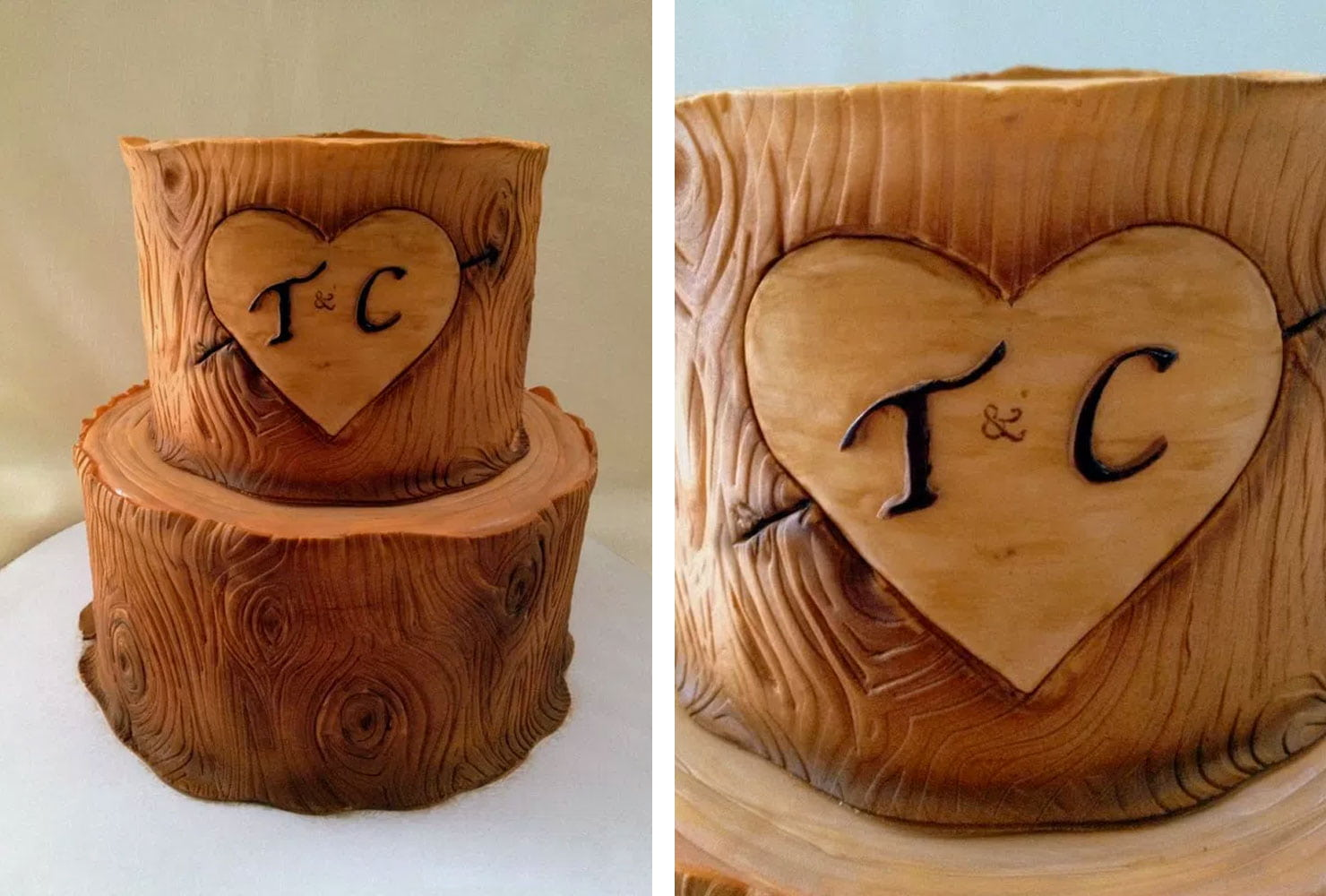 Monogram tiered cake decorated like a tree trunk