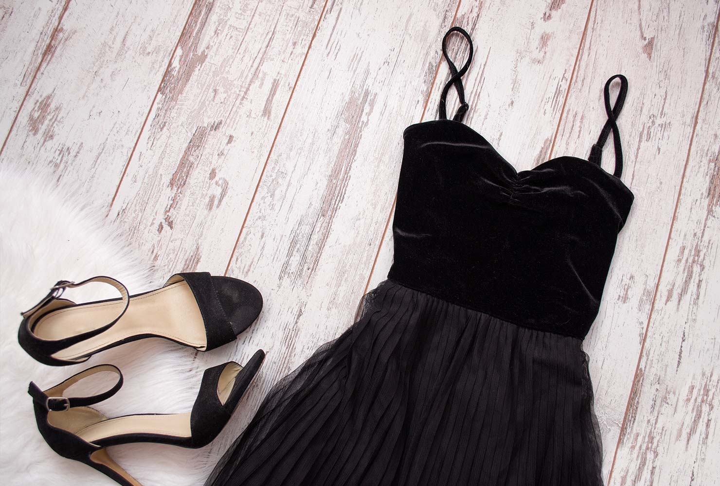 black dress with black heels