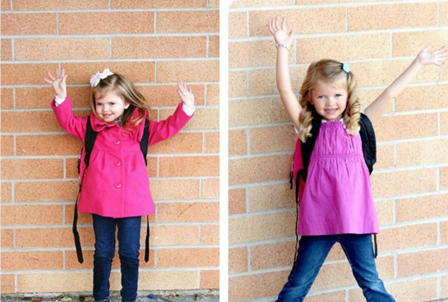 young girl doing the same pose years apart