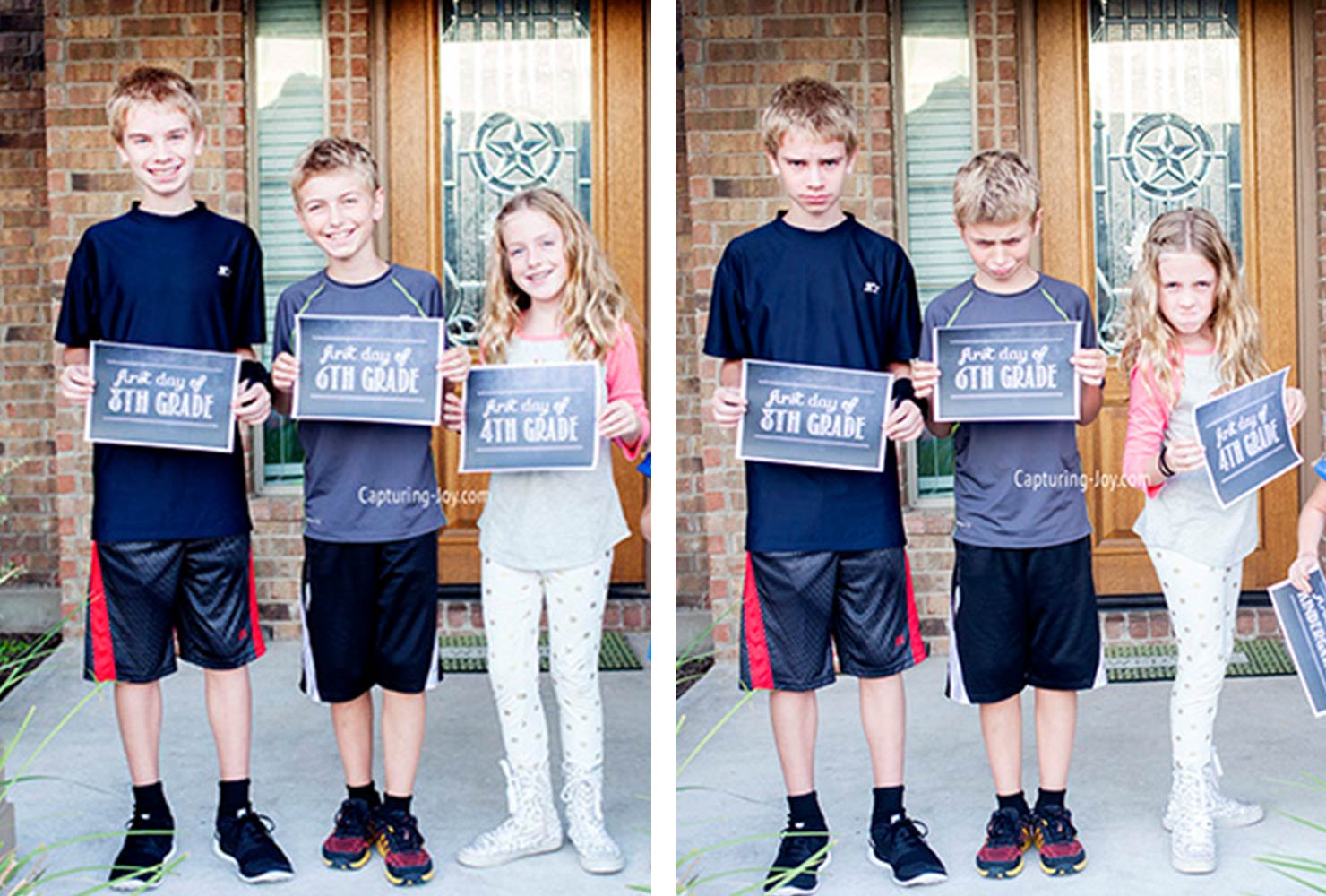 three siblings holding first day of school grade signs