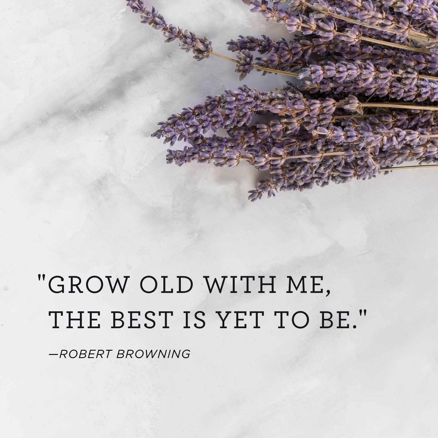 Quote above background image: Grow old with me, the best is yet to be. - Robert Browning