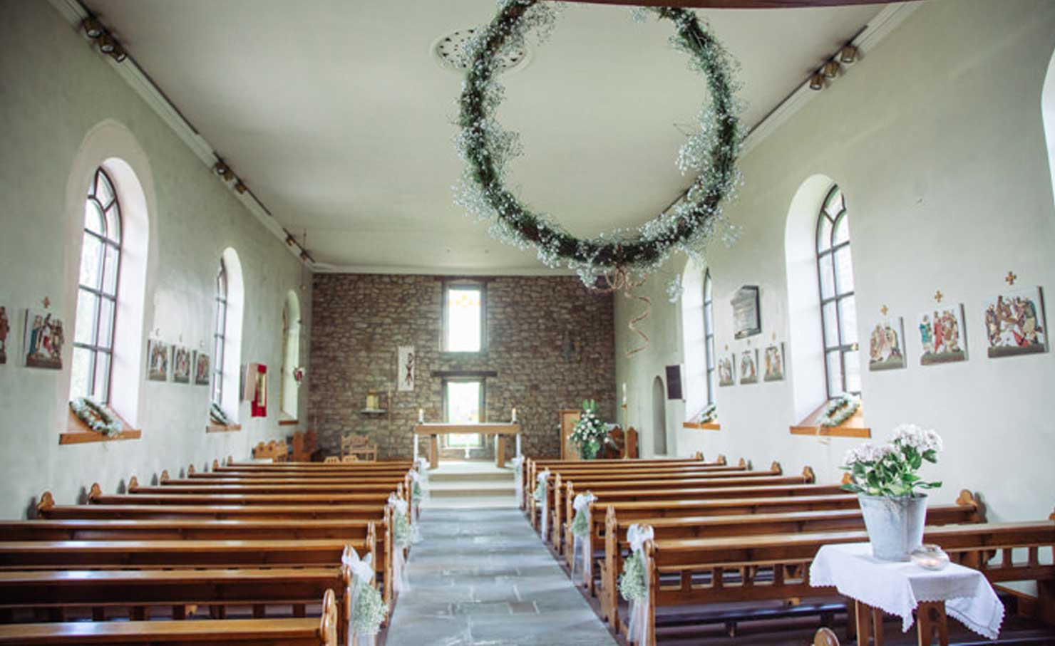 Rustic Church Wreath https://www.boho-weddings.com/wp-content/uploads/2018/05/14-Blush-and-Sage-Rustic-Chic-Farm-wedding-by-Delicious-Photography.jpg