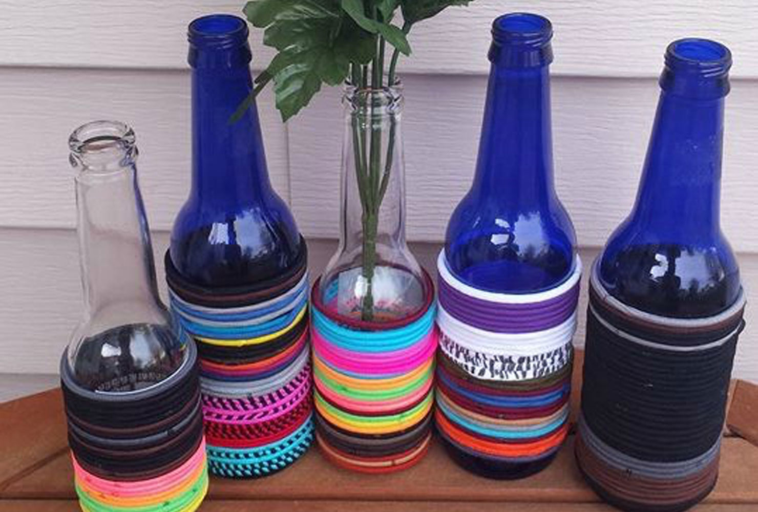 hair ties on a beer bottle