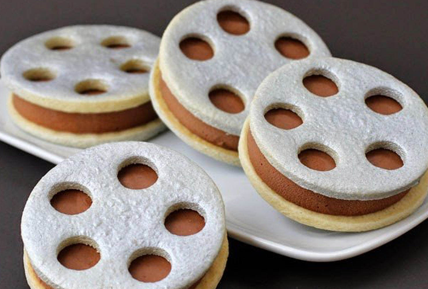 ice cream sandwiches that look like film reels