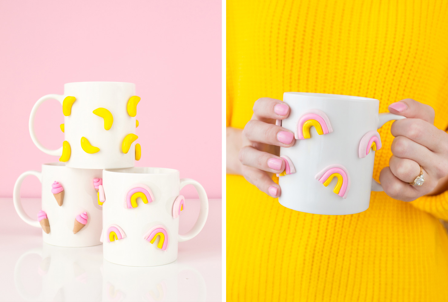 mugs decorated with colorful clay shapes
