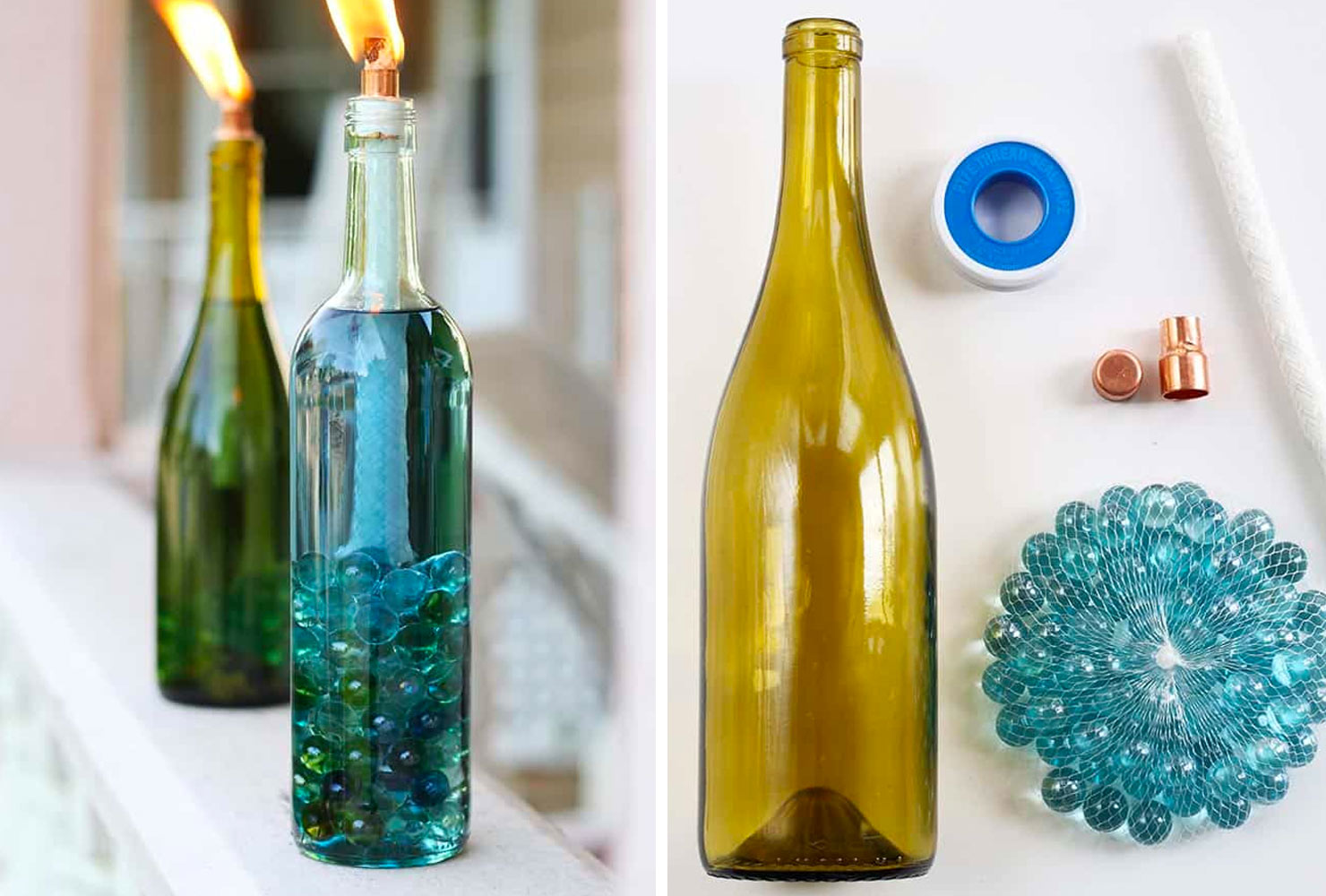 green and blue wine bottles turned into a citronella candle