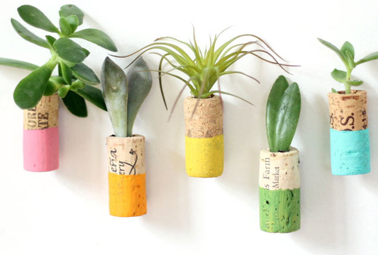 painted wine cork magnet planters