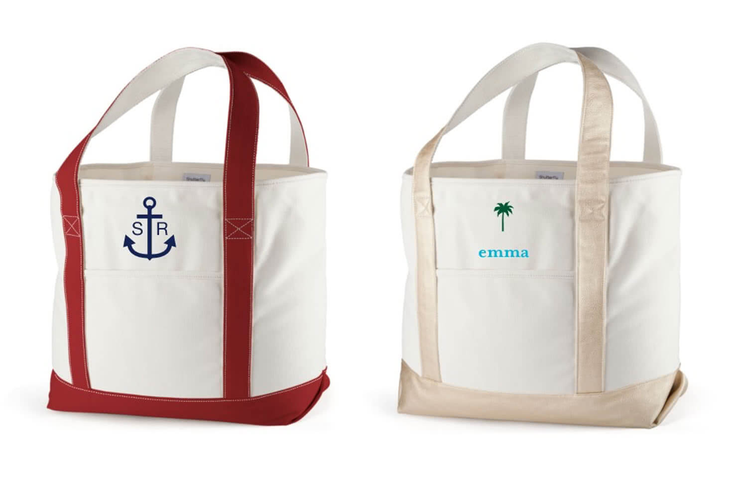 two tan totes with an anchor and a palm tree