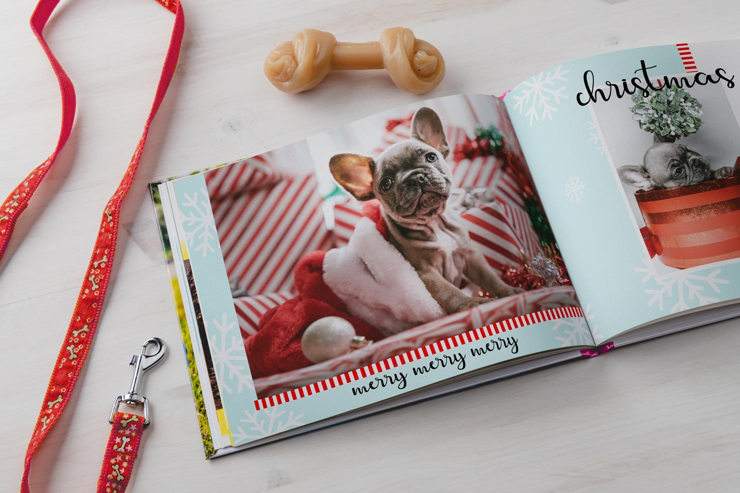 personalized dog photo book with layflat design and collage photo book layout
