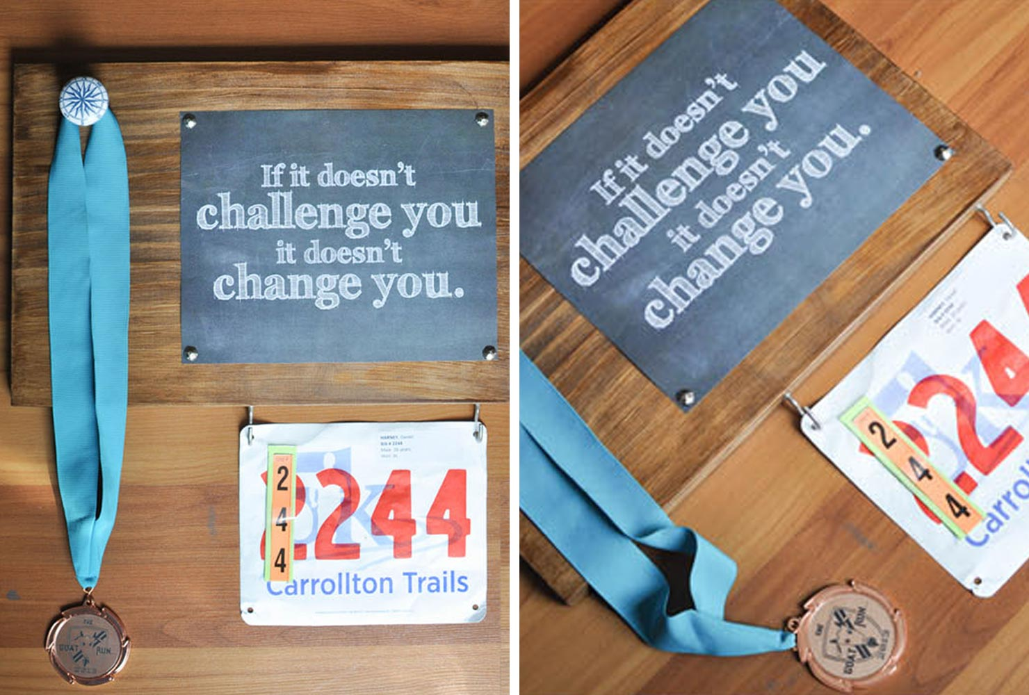 wooden race medal display