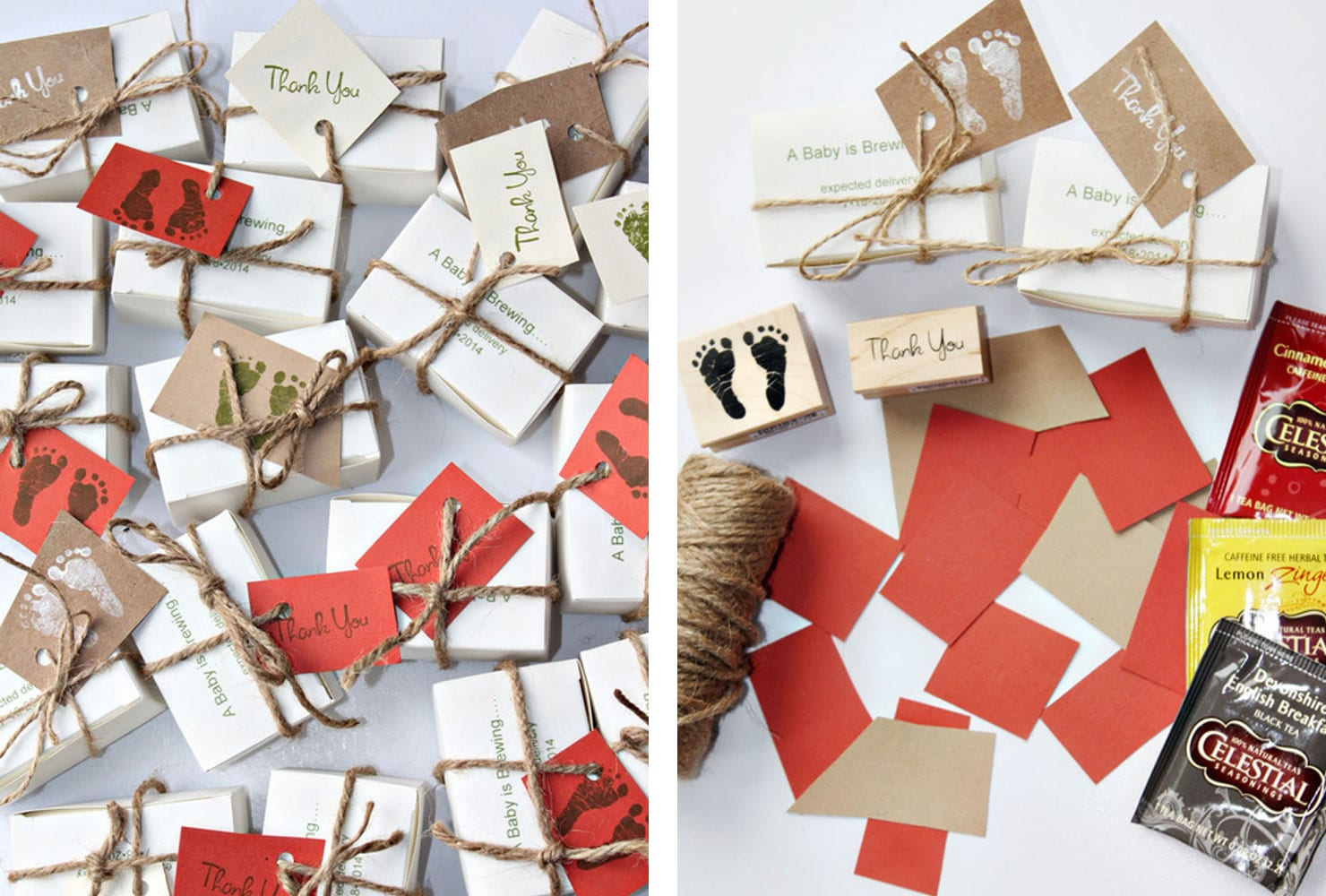 hand stamped favor boxes