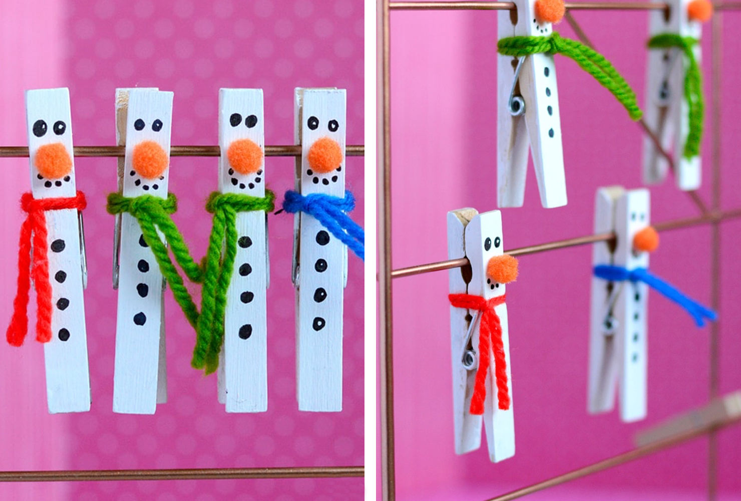 clothespin painted white with snowman features