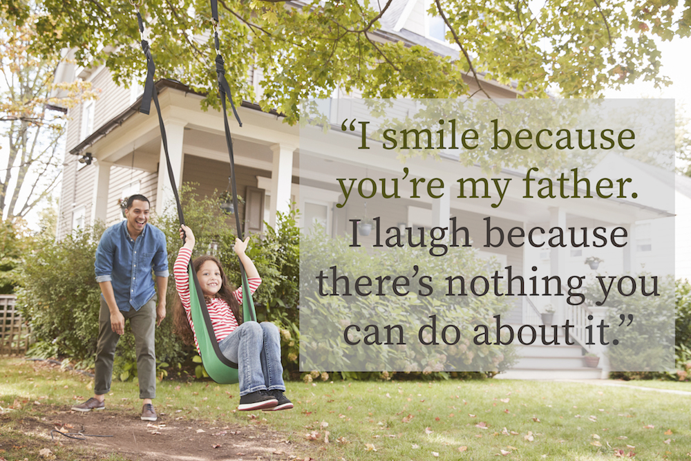 dad and daughter images with quotes: Father Pushing Daughter On Garden Swing At Home