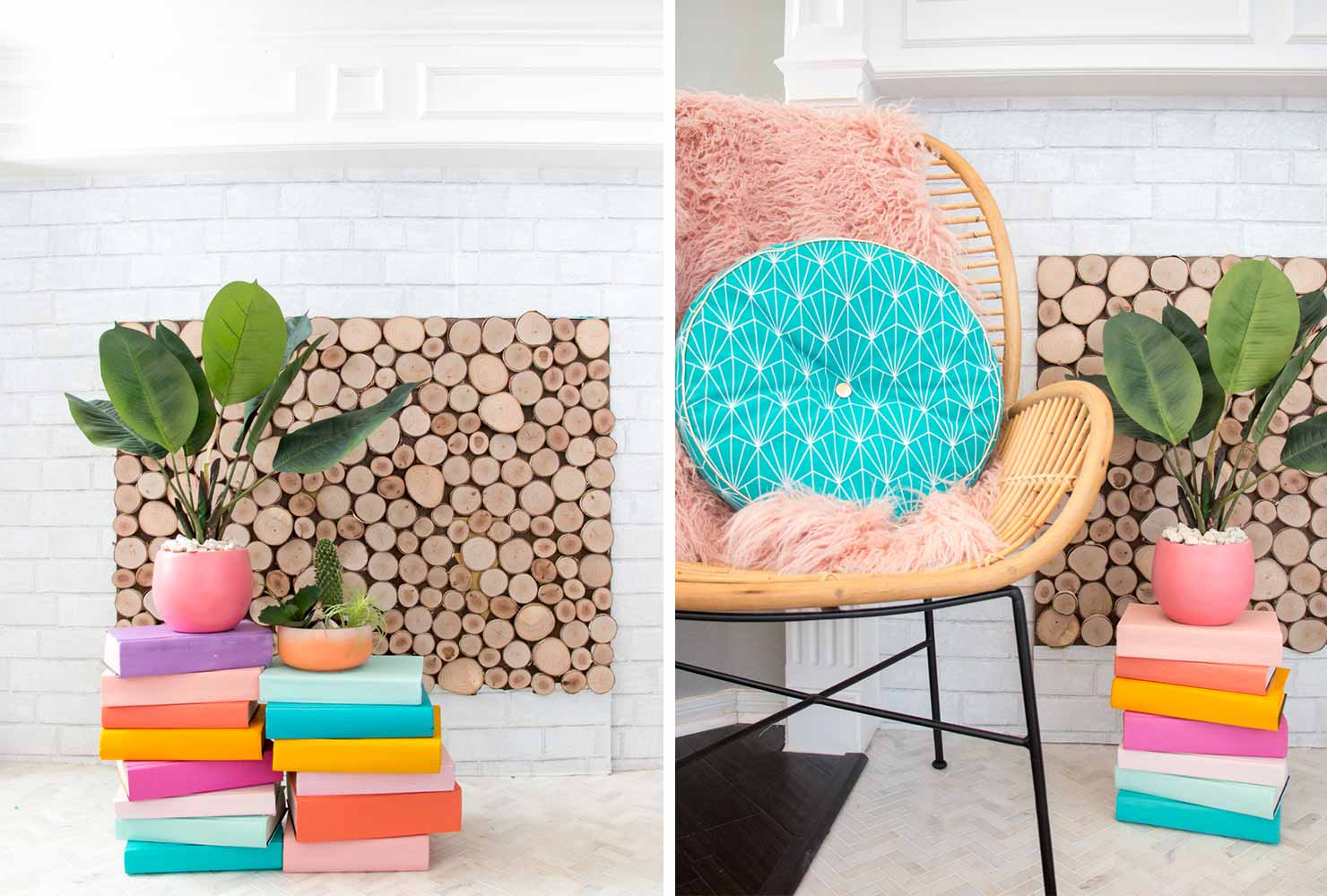 indoor plant decor book stack plant stand