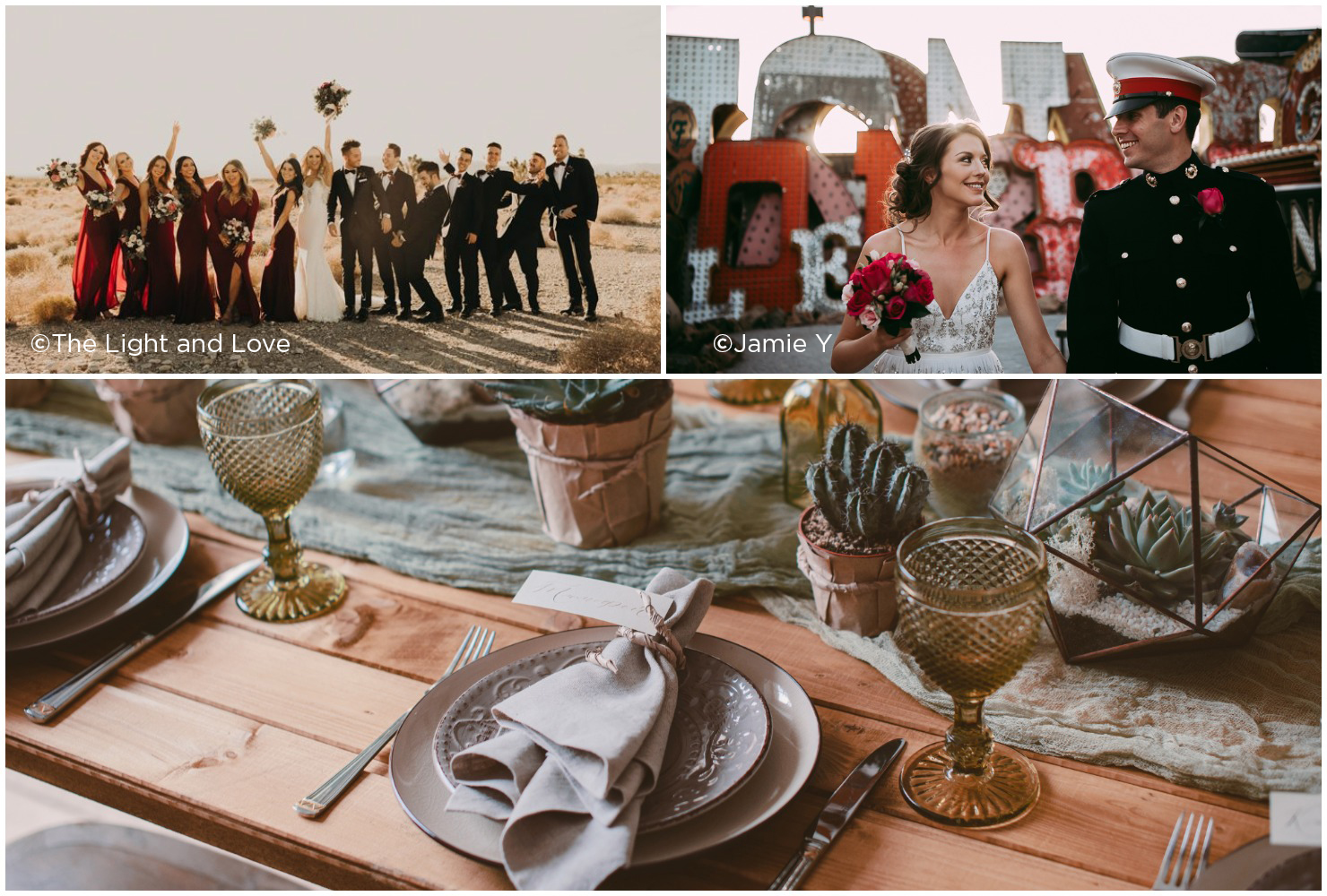 Las Vegas destination wedding ideas, wedding party in the desert, couple in downtown Las Vegas, table setting with cacti