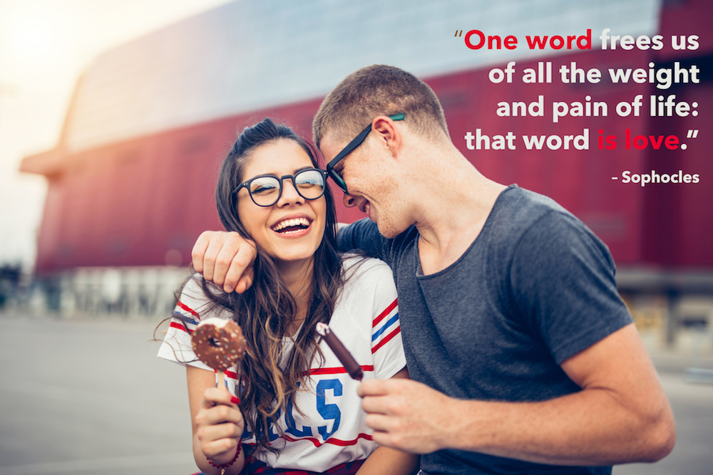 a young couple in love with love quotes