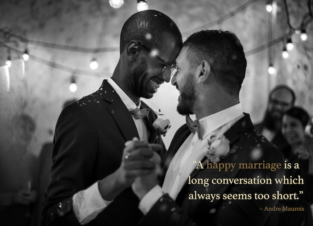 Marriage quotes over a gay couple dancing at their wedding